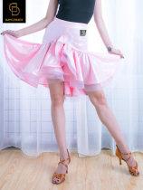 Latin bottom S M L XL female Pink Black Irregular skirt dancebaby Remba Chacha Samba cowboy bullfight spandex DA647