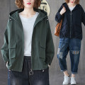 short coat Autumn of 2019 L [100-150 Jin recommended], XL [150-200 Jin recommended] Army green, black Long sleeves routine routine singleton  Straight cylinder commute Hood zipper Solid color 25-29 years old Other / other 81% (inclusive) - 90% (inclusive) cotton cotton