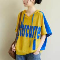 Women's large Summer 2021 blue Large size average size [100-200kg recommended] Sweater / sweater singleton  commute easy thin Socket Short sleeve letter literature Hood have cash less than that is registered in the accounts cotton printing and dyeing routine Other / other 25-29 years old