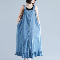 Women's large Summer of 2019 blue M [suggested 90-110 kg], l [suggested 110-130 kg], XL [suggested 130-150 kg], 2XL [suggested 150-170 kg] Dress singleton  commute easy moderate Cardigan Solid color literature Denim Other / other 25-29 years old Button longuette Ruffle Skirt