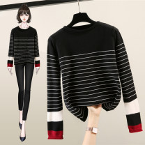 sweater Winter 2020 M L black Long sleeves Socket singleton  Regular other 95% and above Crew neck Regular commute routine stripe Straight cylinder Regular wool Keep warm and warm Lanwei Other 100% Pure e-commerce (online only)
