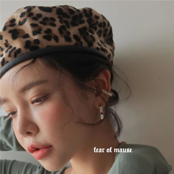 Hat Wool Brown Leopard Print M(56-58cm) beret Autumn and winter currency street Young lovers dome No eaves Check pattern Shopping Curved eaves Fan Mao