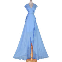 Dress Summer 2021 S,M,L longuette Short sleeve V-neck High waist Solid color other Irregular skirt 51% (inclusive) - 70% (inclusive)