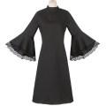 Dress Autumn 2020 I20 × wuz37 black S,M,L,XL Short skirt stand collar High waist Solid color Socket Lace 51% (inclusive) - 70% (inclusive)