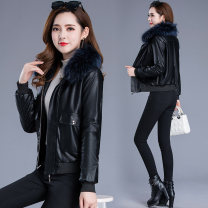 leather clothing Other / other Winter of 2019 M,L,XL,2XL,3XL Black thickened with fur collar have cash less than that is registered in the accounts Long sleeves easy commute Polo collar zipper routine PU pocket 81% (inclusive) - 90% (inclusive) Wash skin