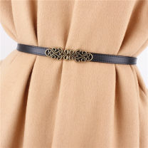 Belt / belt / chain Double skin leather White, black, Burgundy, coffee, camel female belt Versatile Single loop Youth, youth, middle age a hook Leather decoration soft surface 1.3cm alloy Bare, hollow, elastic