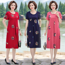 Middle aged and old women's wear Summer 2021 Dark blue, pink, green, scarlet 【40】 95-115kg, [2XL] 115-130kg, [3XL] 130-145kg, [4XL] 145-160kg, [5XL] 160-180kg, [6xl] 160-180kg fashion Dress Straight cylinder singleton  Decor 40-49 years old Socket moderate Crew neck routine Embroidery longuette