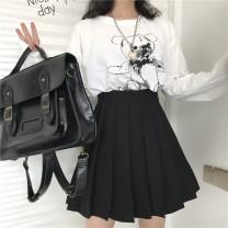 skirt Spring 2021 XL,2XL,3XL,4XL,5XL,6XL black Short skirt commute High waist Pleated skirt Solid color Type A 18-24 years old 81% (inclusive) - 90% (inclusive) brocade polyester fiber fold Korean version