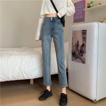 Jeans Autumn 2020 blue XS,S,M,L trousers High waist Straight pants routine 18-24 years old washing Cotton denim light colour 81% (inclusive) - 90% (inclusive)