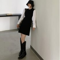 Dress Autumn 2020 black XS,S,M Middle-skirt singleton  Long sleeves commute Crew neck High waist Solid color Socket A-line skirt Princess sleeve Others 18-24 years old Type A Korean version 31% (inclusive) - 50% (inclusive) other other