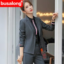 Professional pants suit Grey Stripe Suit + pants, black stripe suit + pants, blue stripe suit + pants, 082 long sleeve white shirt, 083 long sleeve black shirt, 069 long sleeve red shirt S,M,L,XL,XXL,XXXL,XXXXL Spring of 2019 loose coat Long sleeves Yr-6002 wide bar trousers 18-25 years old cotton