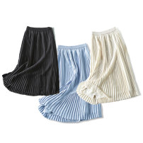 skirt Spring 2021 36(S),38(M),40(L),42(XL) Blue, black, coconut milk white Mid length dress commute Natural waist Pleated skirt Solid color Type A GIMI201818 More than 95% Chiffon Rui Xian polyester fiber fold Simplicity
