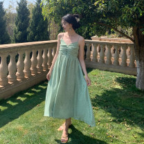 Dress Spring 2021 Black, green S, M Mid length dress singleton  Sleeveless commute V-neck High waist Decor Socket A-line skirt other camisole 18-24 years old Type A Retro Open back, fold, button 31% (inclusive) - 50% (inclusive) other polyester fiber