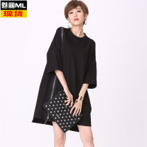 Dress Fall 2017 black Average size Mid length dress singleton  Long sleeves street Crew neck Loose waist other other Others 18-24 years old Type H zipper 51% (inclusive) - 70% (inclusive) other cotton Europe and America