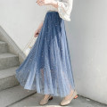 skirt Summer 2020 Average size Black, apricot, haze blue, pink Mid length dress Versatile High waist Pleated skirt Solid color Type A 18-24 years old Hollow, fold, three-dimensional decoration, Sequin, gauze net