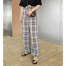 Women's large Spring 2021, summer 2021 lattice Large XL, large XXL, large XXL, large XXXXL, large XXXXL trousers singleton  commute easy moderate lattice Korean version polyester Collage Monica 25-29 years old pocket 96% and above trousers zipper