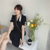 Women's large Spring 2021, summer 2021 Pre sale [black working days, 15-7] Large XL, large XXL, large XXL, large XXXXL, large XXXXL Dress singleton  commute easy moderate Socket Short sleeve Solid color Korean version V-neck polyester Collage routine Monica 25-29 years old Bandage 96% and above