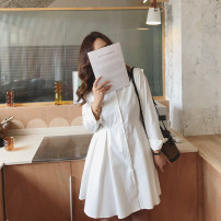 Women's large Autumn 2020 White dress Large XL, large XXL, large XXL, large XXXXL, large XXXXL Dress singleton  commute easy moderate Cardigan Long sleeves Solid color Korean version Polo collar cotton Collage routine Monica 25-29 years old Button 96% and above Short skirt Pleated skirt