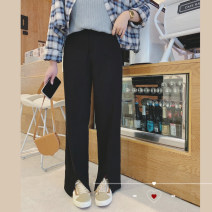 Women's large Spring 2021, summer 2021 Pre sale [black working days, 15-7] Large XL, large XXL, large XXL, large XXXXL, large XXXXL trousers singleton  commute easy moderate Solid color Korean version polyester Collage Monica pocket 96% and above trousers zipper