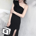 Dress / evening wear Weddings, adulthood parties, company annual meetings, daily appointments XS S M L black fashion longuette middle-waisted Spring of 2019 Self cultivation Single shoulder type zipper 18-25 years old YBXG190301 Solid color Yibaixiu Pavilion Polyester 100%