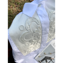 shirt white S,M,L Spring 2021 cotton 96% and above Long sleeves commute Regular Polo collar Single row multi button routine Solid color 25-29 years old Straight cylinder oran juicy Retro Embroidery, stitching, beads, sequins, pockets, tridimensional decoration, buttons cotton