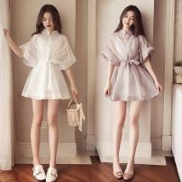 Dress Winter 2016 White, lotus root pink, letter T-shirt S,M,L,XL,2XL Short skirt Two piece set Other / other Bandage