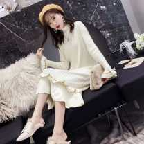 sweater Winter 2020 Average size Khaki, off white, pink, green, vest Long sleeves singleton  Medium length Viscose 95% and above pagoda sleeve Self cultivation 18-24 years old Other / other