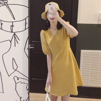Dress Summer 2020 Red, gold M,L,XL,XXL Miniskirt singleton  Short sleeve V-neck middle-waisted Socket A-line skirt