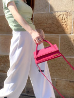Bag The single shoulder bag Super fiber synthetic leather Small square bag Other / other brand new European and American fashion in Magnetic buckle Solid color Single root One shoulder cross carry nothing youth Horizontal square Sewing Hard handle inside pocket with a zipper Three dimensional bag