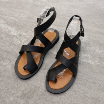 Sandals 35,36,37,38,39,40 black PU Other / other Toenail Flat heel Middle heel (3-5cm) Summer of 2019 Flat buckle Korean version Solid color Adhesive shoes Youth (18-40 years old) plastic cement daily Back space Low Gang Hollow PU SS Roman shoes