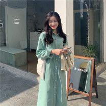 Dress Winter 2020 Apricot, purple, black, coffee, peach powder, mint blue S,M,L,XL,2XL Mid length dress singleton  Long sleeves commute Polo collar High waist Solid color Single breasted A-line skirt routine 18-24 years old Type A Korean version Button, pocket