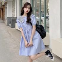 Women's large Summer 2021 White, blue, black Large L, large XL, s, m, 2XL, 3XL, 4XL singleton  commute Socket Short sleeve Korean version puff sleeve 18-24 years old Middle-skirt