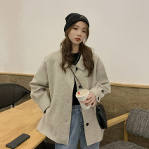 woolen coat Winter 2020 Average size Black, oatmeal polyester fiber 71% (inclusive) - 80% (inclusive) routine Long sleeves commute Single breasted routine other Solid color Straight cylinder Korean version 18-24 years old Pocket, button