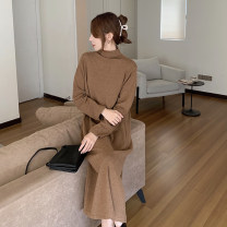 Dress Winter 2020 Gray, black, apricot, khaki Average size longuette singleton  Long sleeves commute High collar Loose waist Solid color Socket other routine Others 18-24 years old Type H Korean version 91% (inclusive) - 95% (inclusive)