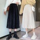 skirt Winter 2020 Average size Apricot, grey, black Mid length dress commute High waist Pleated skirt Solid color Type A 18-24 years old Korean version
