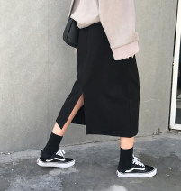 skirt Winter of 2018 S, M black Mid length dress commute High waist Cake skirt Solid color Type A 18-24 years old 51% (inclusive) - 70% (inclusive) Other / other cotton Korean version