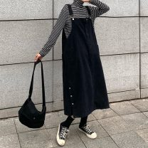 Dress Winter of 2019 black Average size Mid length dress singleton  Sleeveless commute square neck Solid color straps 18-24 years old Type A Other / other Korean version 91% (inclusive) - 95% (inclusive) Denim