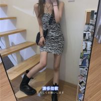 Dress Summer 2021 Picture color S, M Short skirt singleton  Sleeveless commute other High waist Zebra pattern Socket A-line skirt other camisole 18-24 years old Type A Other / other Korean version 31% (inclusive) - 50% (inclusive) cotton