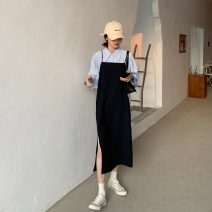 Dress Autumn 2020 White shirt, blue shirt, black suspender skirt, Navy suspender skirt Average size Mid length dress Two piece set Sleeveless commute Loose waist camisole 18-24 years old Type H Other / other Korean version
