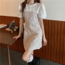 Dress Summer 2021 White blouse piece, red suspender skirt piece, black suspender skirt piece S. M, l, average size Middle-skirt Two piece set Sleeveless commute High waist Decor A-line skirt camisole 18-24 years old Type A Other / other Korean version Lace 6020#