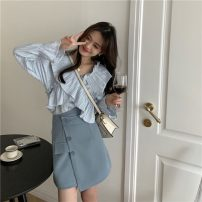 skirt Spring 2021 S. M, average size Blue shirt, white shirt, blue skirt, black skirt Short skirt commute High waist Irregular Solid color Type A 18-24 years old Other / other Korean version