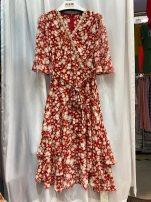 Dress Spring 2021 Red flower M,L,XL,2XL Mingxun