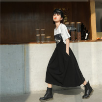 skirt Summer 2021 S,M,L black Mid length dress commute High waist Strapless skirt Solid color Type A 18-24 years old 31% (inclusive) - 50% (inclusive) other Leisure season cotton Chain, pocket, zipper Korean version