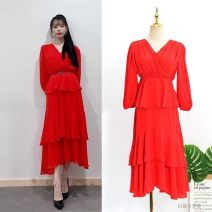 Dress Autumn of 2019 Red (belt) S,XL,L,M Mid length dress singleton  Long sleeves commute V-neck High waist Solid color Socket Cake skirt routine Others 25-29 years old Stitching, ruffles, asymmetry 81% (inclusive) - 90% (inclusive) Chiffon polyester fiber
