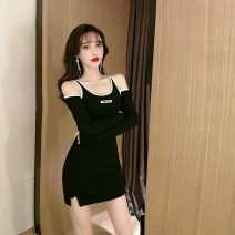 Dress Spring 2020 black S,M,L Short skirt Fake two pieces Long sleeves Crew neck High waist Decor Socket Pencil skirt routine 18-24 years old Type X Other / other Embroidery 81% (inclusive) - 90% (inclusive) knitting cotton