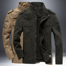 Jacket Silk talent Fashion City Khaki, army green, black M,L,XL,2XL,3XL,4XL,5XL,6XL routine easy Travel? spring BCJ8331 Cotton 100% Long sleeves Wear out stand collar Military brigade of tooling youth routine Zipper placket 2021 Cloth hem washing Loose cuff Solid color Seldingham Epaulet cotton