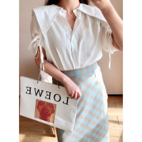 Women's large Summer 2021 White, black, blue 1X,2X,3X,4X shirt singleton  commute Straight cylinder thin Cardigan Short sleeve Plaid, solid Korean version routine Polyester, cotton Three dimensional cutting S210367#YN210412 Xi Youzi 25-29 years old Bandage