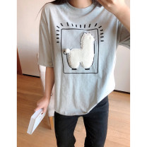 Women's large Spring 2021, summer 2021 Black, gray 1X,2X,3X,4X T-shirt singleton  commute Straight cylinder moderate Socket Short sleeve Cartoon animation, solid color Korean version Crew neck Medium length cotton Three dimensional cutting routine Xi Youzi 25-29 years old
