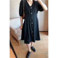 Women's large Spring 2021, summer 2021 black 1X,2X,3X,4X,5X Dress singleton  commute easy moderate Short sleeve Solid color Korean version V-neck Polyester, others Three dimensional cutting S220353#YN210412 Xi Youzi 25-29 years old Button Medium length