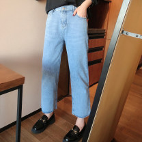 Jeans Spring 2021 blue 30,32,34,36,38 Ninth pants Natural waist Straight pants routine 25-29 years old washing Cotton denim light colour K1117#LCX210111 Xi Youzi